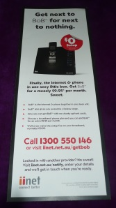 The iinet BoB advertisement open