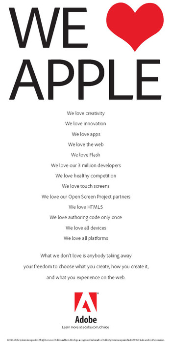 Adobe loves Apple